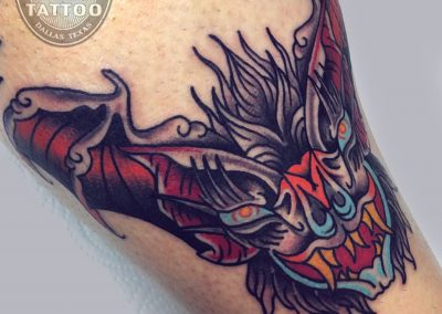dallas-tattoo-neotraditional-bat-head