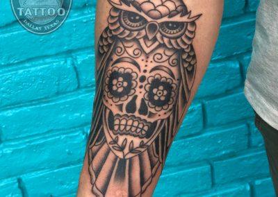 dallas-tattoo-traditional-owl-skull