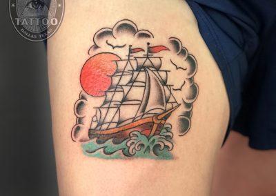 dallas-traditional-tattoo-clipper-ship